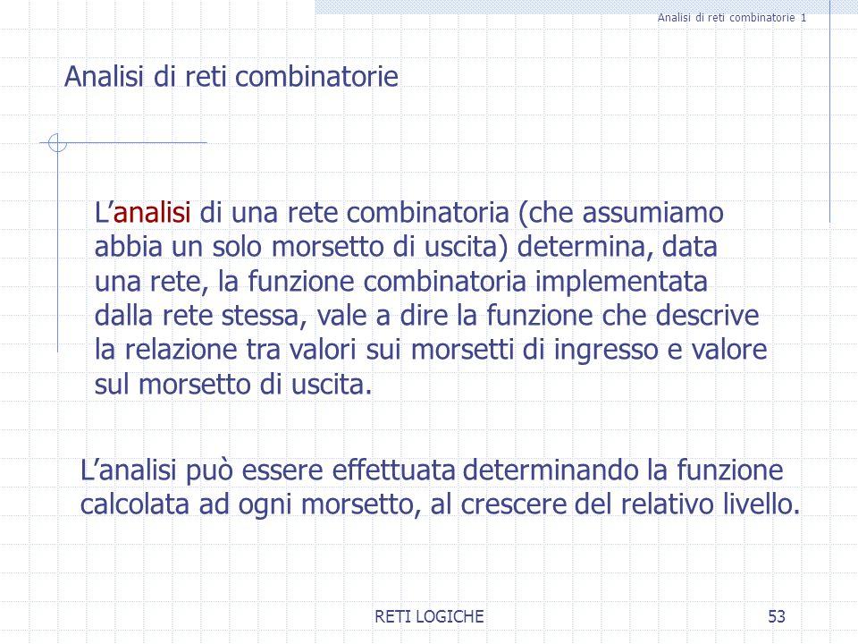RETI LOGICHE53 Analisi di reti combinatorie 1 Analisi di reti combinatorie Lanalisi di una rete combinatoria (che assumiamo abbia un solo morsetto di