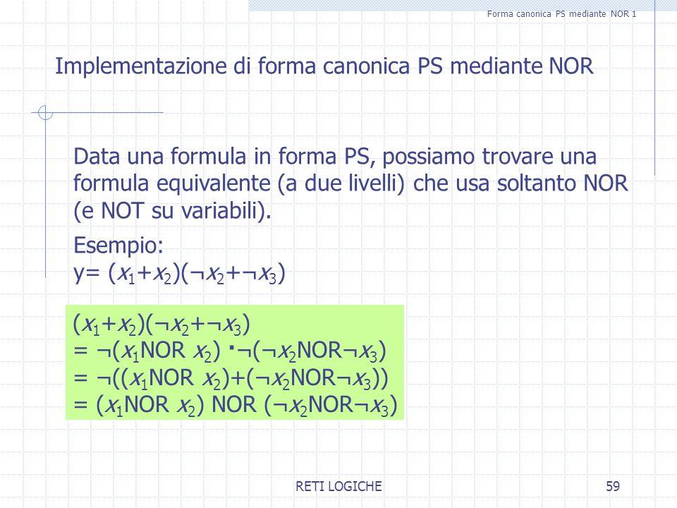 RETI LOGICHE59 Forma canonica PS mediante NOR 1 Implementazione di forma canonica PS mediante NOR Data una formula in forma PS, possiamo trovare una f