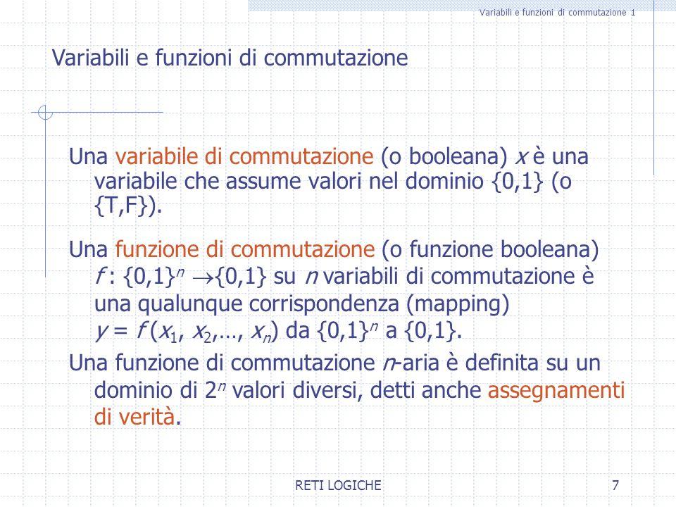 RETI LOGICHE7 Variabili e funzioni di commutazione 1 Una variabile di commutazione (o booleana) x è una variabile che assume valori nel dominio {0,1}