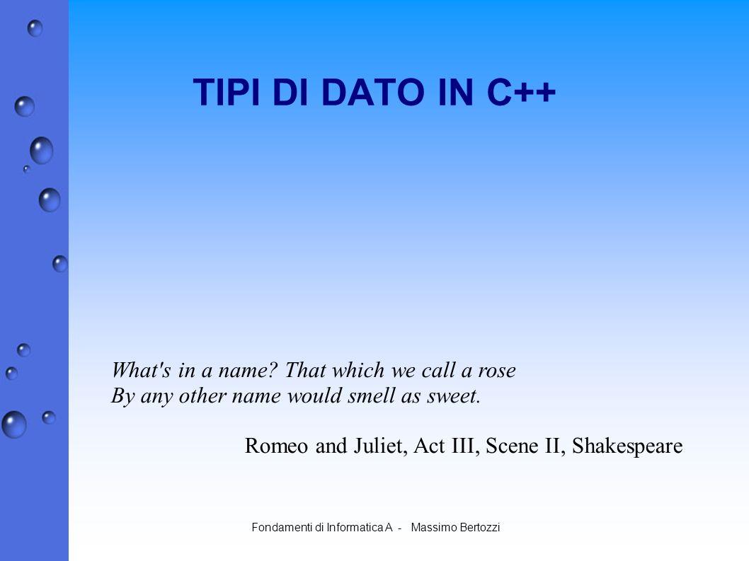 Fondamenti di Informatica A - Massimo Bertozzi TIPI DI DATO IN C++ What s in a name.