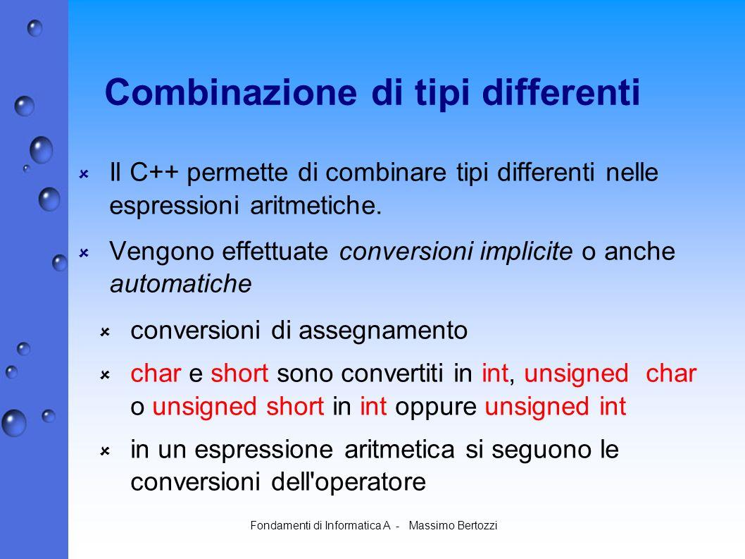 Fondamenti di Informatica A - Massimo Bertozzi Combinazione di tipi differenti Il C++ permette di combinare tipi differenti nelle espressioni aritmetiche.
