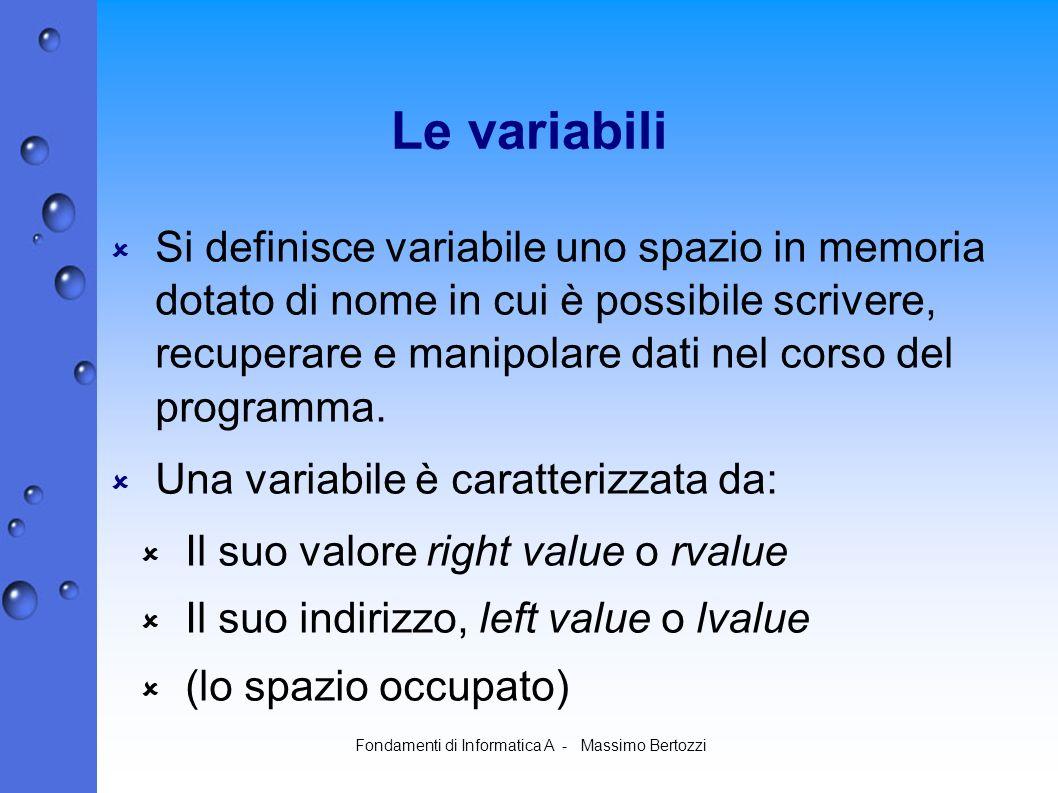 Fondamenti di Informatica A - Massimo Bertozzi Le variabili Si definisce variabile uno spazio in memoria dotato di nome in cui è possibile scrivere, recuperare e manipolare dati nel corso del programma.