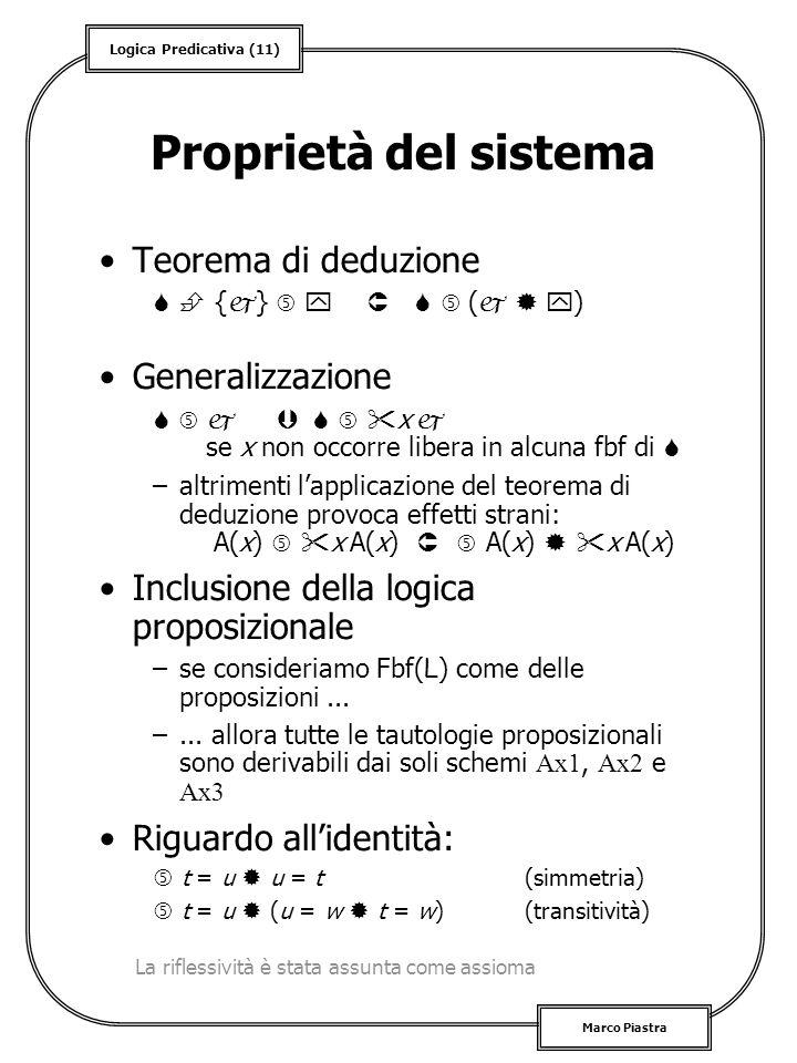 Logica Predicativa (11) Marco Piastra Proprietà del sistema Teorema di deduzione { } ( ) Generalizzazione x se x non occorre libera in alcuna fbf di –