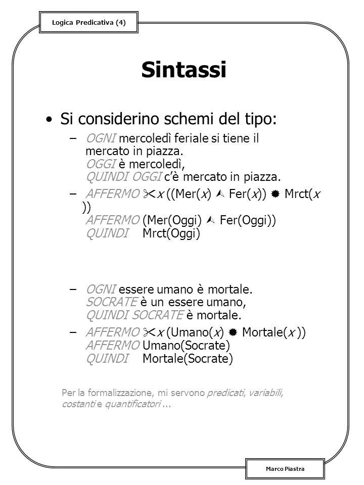 Logica Predicativa (5) Marco Piastra Semantica Intuitivamente: –si considera un mondo di oggetti preso come riferimento –esempio: linsieme di tutti gli individui, linsieme dei giorni dellanno, etc.