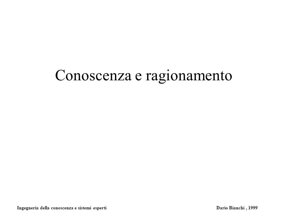 Ingegneria della conoscenza e sistemi esperti Dario Bianchi, 1999 Conoscenza e ragionamento