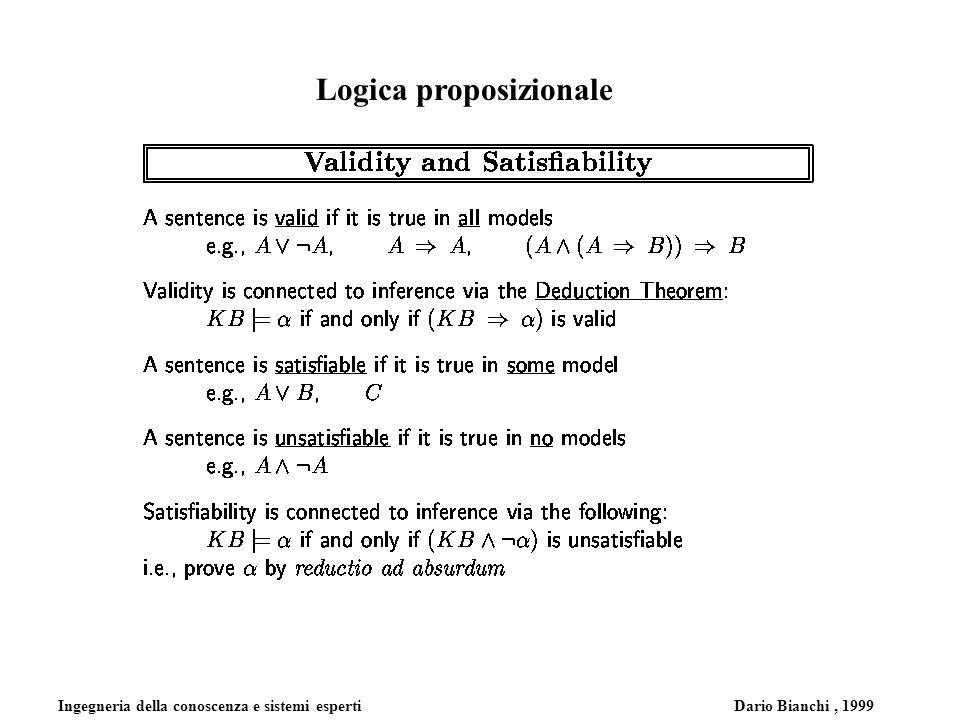 Ingegneria della conoscenza e sistemi esperti Dario Bianchi, 1999 Logica proposizionale