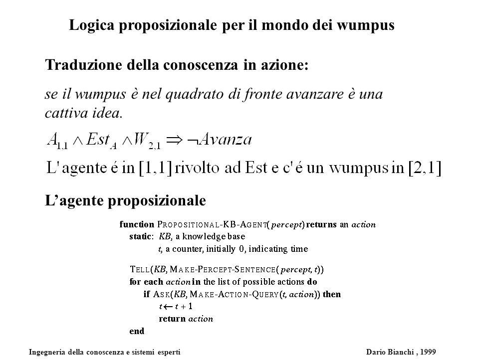 Ingegneria della conoscenza e sistemi esperti Dario Bianchi, 1999 Logica proposizionale per il mondo dei wumpus Traduzione della conoscenza in azione: se il wumpus è nel quadrato di fronte avanzare è una cattiva idea.