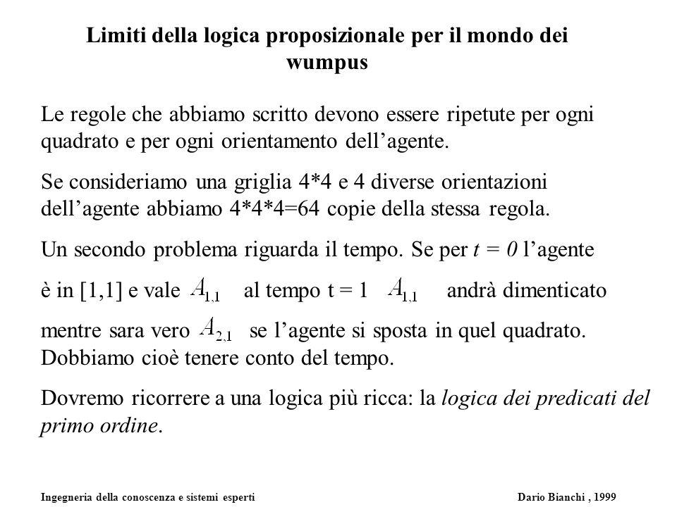 Ingegneria della conoscenza e sistemi esperti Dario Bianchi, 1999 Limiti della logica proposizionale per il mondo dei wumpus Le regole che abbiamo scritto devono essere ripetute per ogni quadrato e per ogni orientamento dellagente.