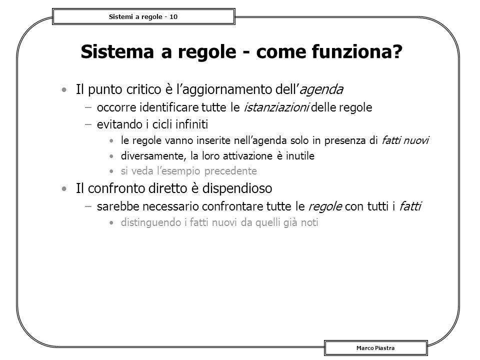 Sistemi a regole - 10 Marco Piastra Sistema a regole - come funziona? Il punto critico è laggiornamento dellagenda –occorre identificare tutte le ista