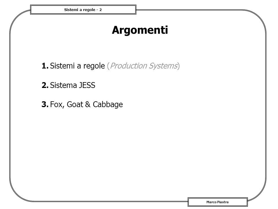 Sistemi a regole - 2 Marco Piastra Argomenti 1.Sistemi a regole (Production Systems) 2.Sistema JESS 3.Fox, Goat & Cabbage