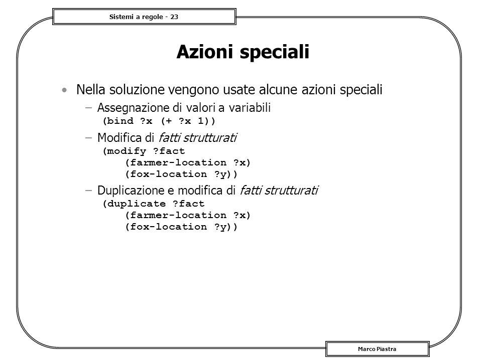 Sistemi a regole - 23 Marco Piastra Azioni speciali Nella soluzione vengono usate alcune azioni speciali –Assegnazione di valori a variabili (bind ?x