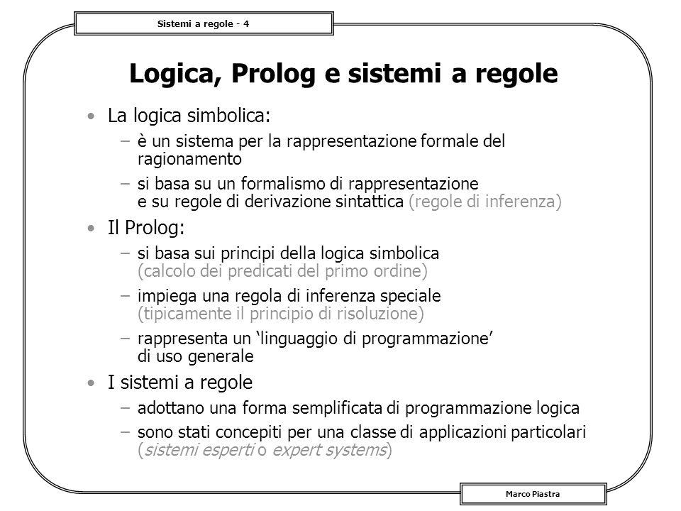 Sistemi a regole - 4 Marco Piastra Logica, Prolog e sistemi a regole La logica simbolica: –è un sistema per la rappresentazione formale del ragionamen