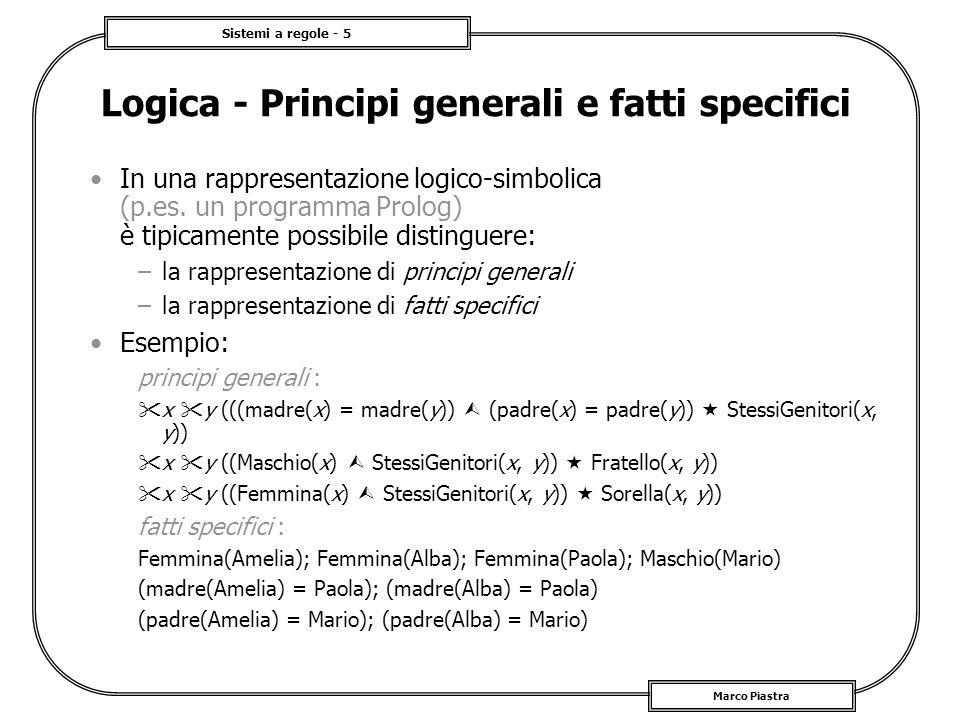 Sistemi a regole - 5 Marco Piastra In una rappresentazione logico-simbolica (p.es. un programma Prolog) è tipicamente possibile distinguere: –la rappr