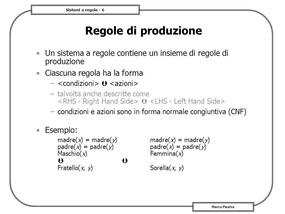 Sistemi a regole - 6 Marco Piastra Regole di produzione Un sistema a regole contiene un insieme di regole di produzione Ciascuna regola ha la forma –