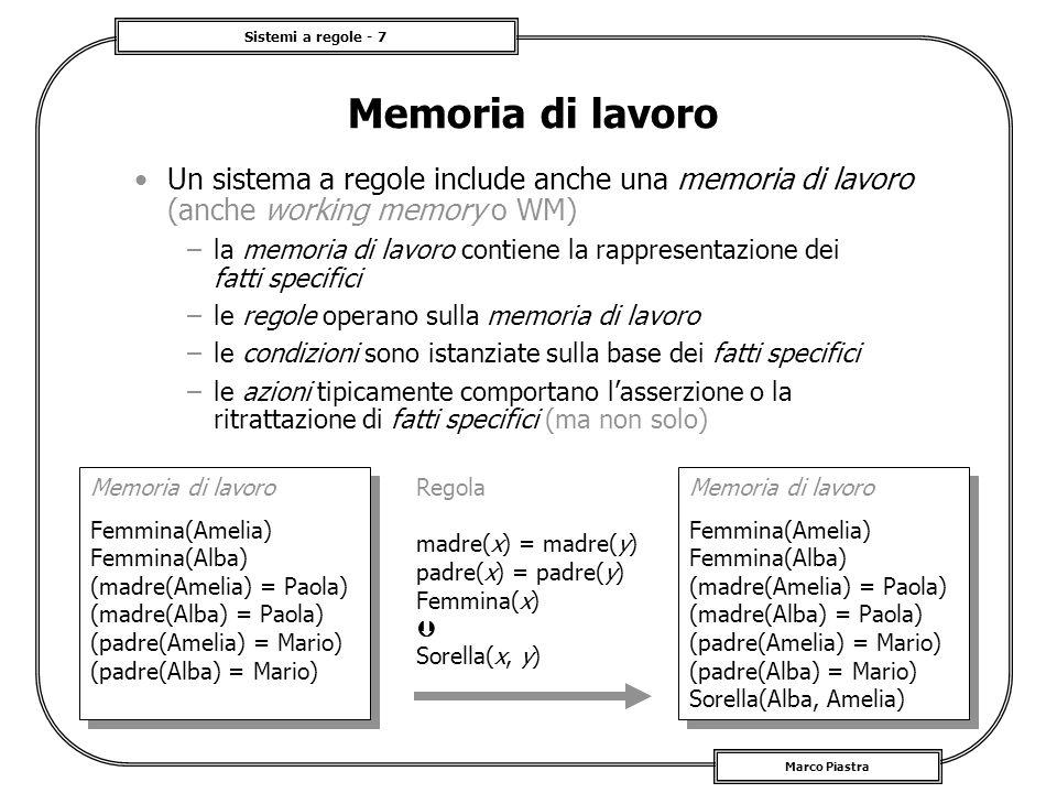 Sistemi a regole - 7 Marco Piastra Memoria di lavoro Un sistema a regole include anche una memoria di lavoro (anche working memory o WM) –la memoria d
