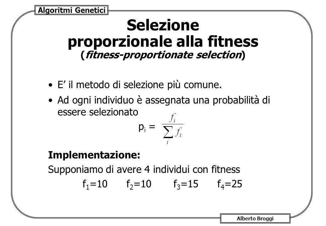 Algoritmi Genetici Alberto Broggi Selezione proporzionale alla fitness (fitness-proportionate selection) E il metodo di selezione più comune. Ad ogni