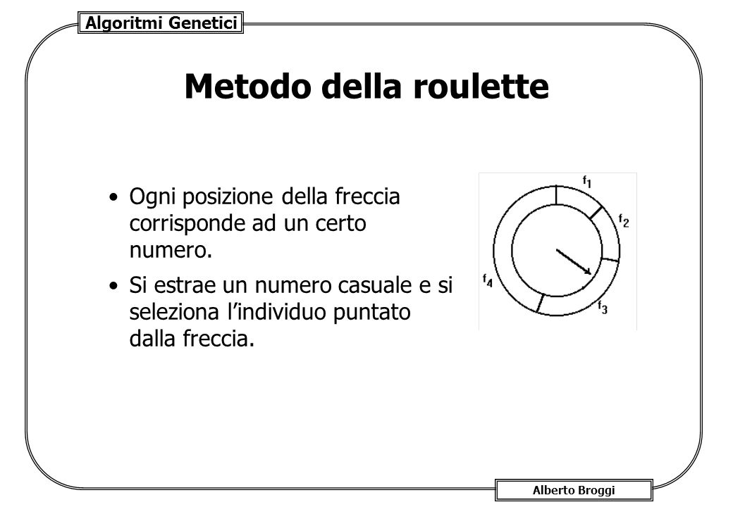 Algoritmi Genetici Alberto Broggi Metodo della roulette Ogni posizione della freccia corrisponde ad un certo numero. Si estrae un numero casuale e si