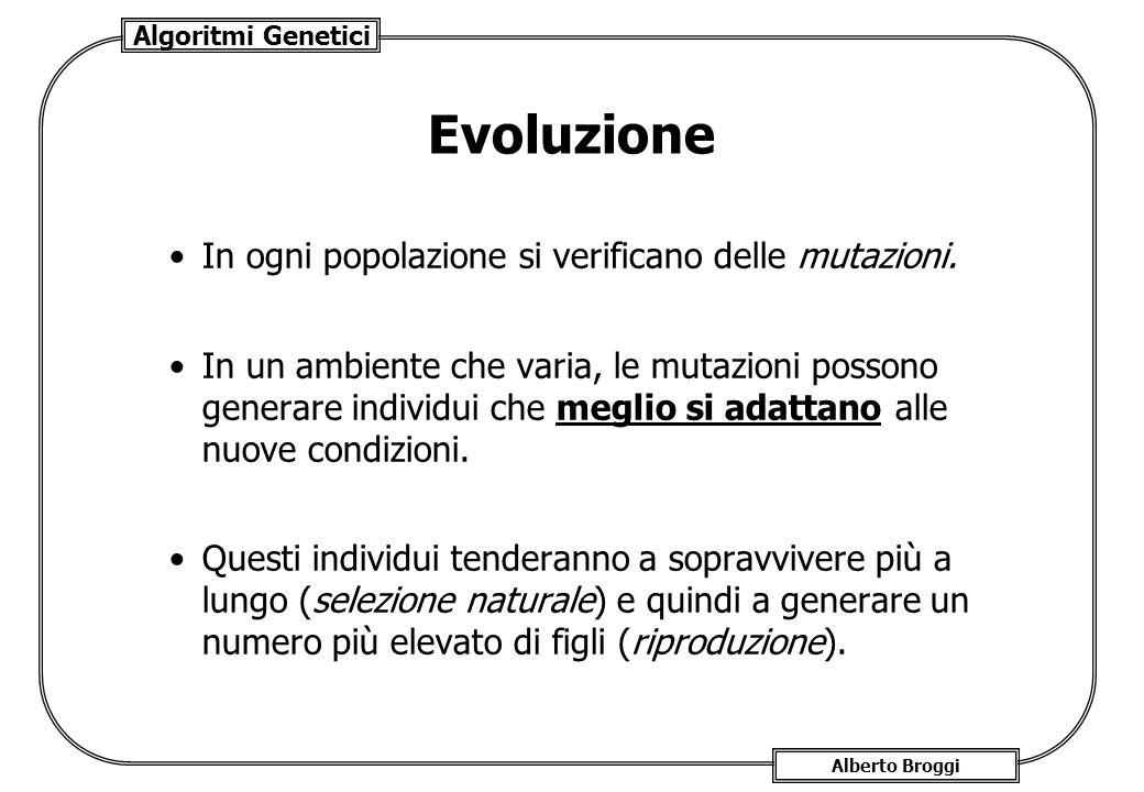 Algoritmi Genetici Alberto Broggi Evoluzione I figli preservano in parte i caratteri genetici dei genitori (cromosomi, composti da geni) e, in parte, mescolandoli (crossover), creano nuovi tipi.