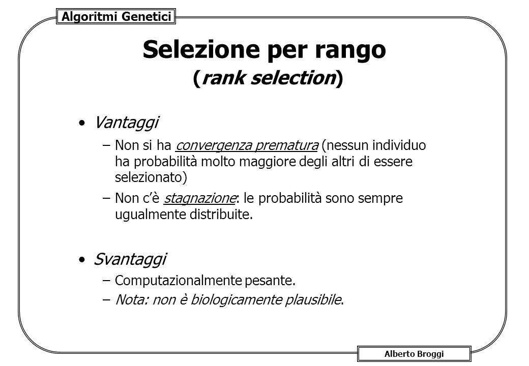 Algoritmi Genetici Alberto Broggi Selezione per rango (rank selection) Vantaggi –Non si ha convergenza prematura (nessun individuo ha probabilità molt