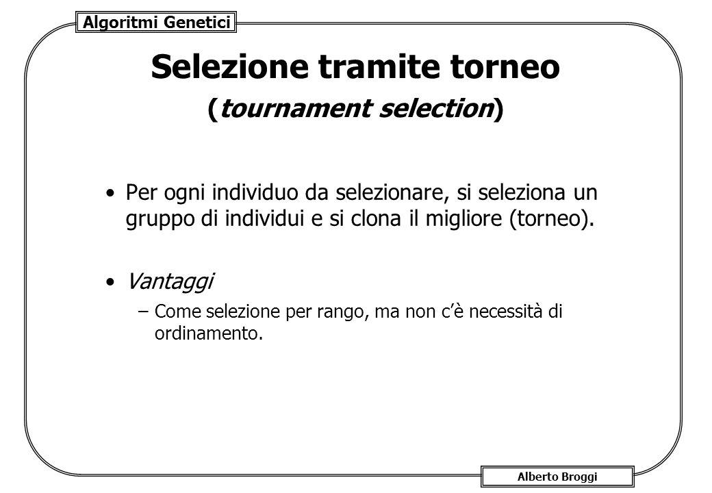 Algoritmi Genetici Alberto Broggi Selezione tramite torneo (tournament selection) Per ogni individuo da selezionare, si seleziona un gruppo di individ