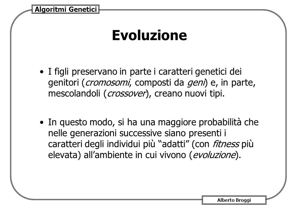Algoritmi Genetici Alberto Broggi Evoluzione I figli preservano in parte i caratteri genetici dei genitori (cromosomi, composti da geni) e, in parte,