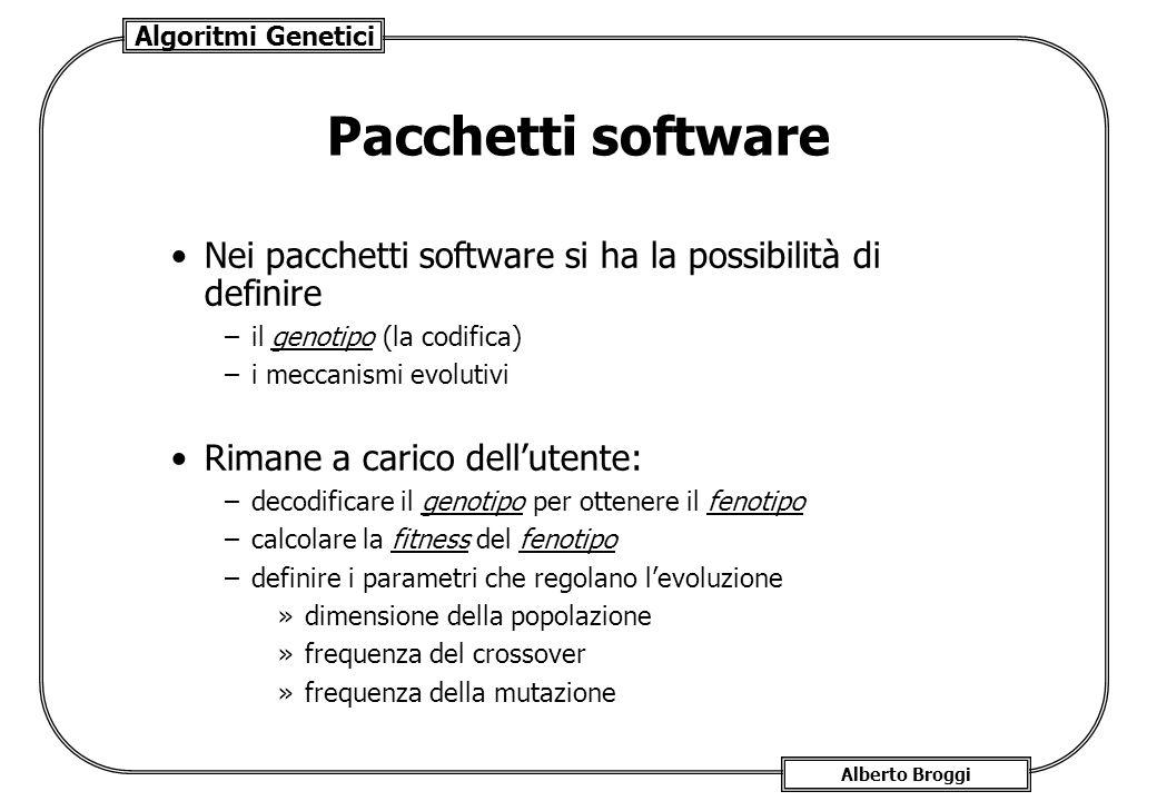 Algoritmi Genetici Alberto Broggi Pacchetti software Nei pacchetti software si ha la possibilità di definire –il genotipo (la codifica) –i meccanismi