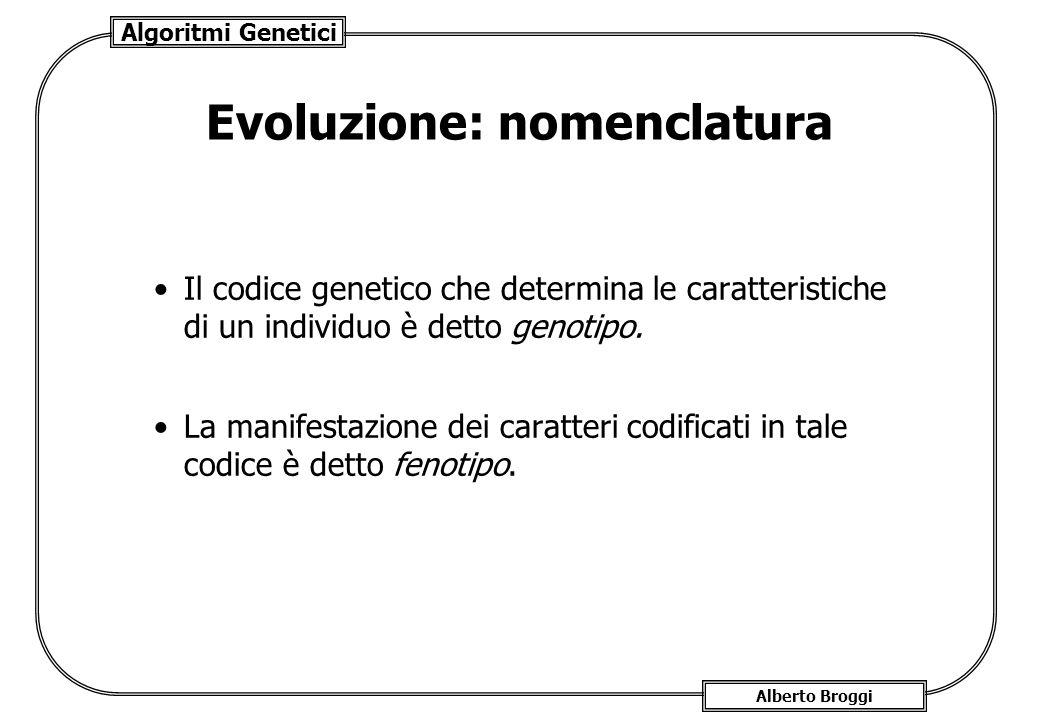 Algoritmi Genetici Alberto Broggi Evoluzione: nomenclatura Il codice genetico che determina le caratteristiche di un individuo è detto genotipo. La ma