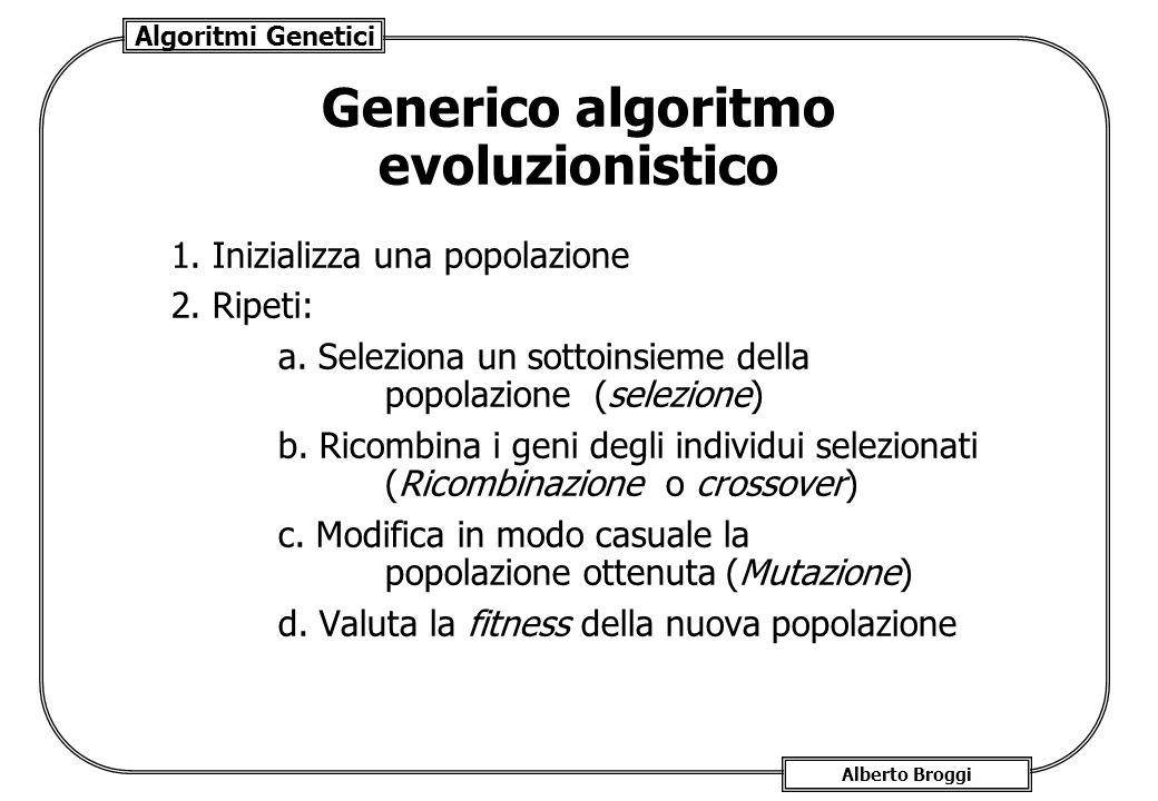Algoritmi Genetici Alberto Broggi Generico algoritmo evoluzionistico 1. Inizializza una popolazione 2. Ripeti: a. Seleziona un sottoinsieme della popo