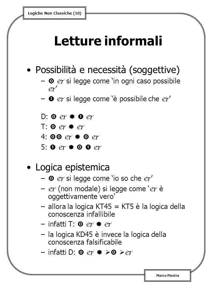 Logiche Non Classiche (10) Marco Piastra Letture informali Possibilità e necessità (soggettive) – si legge come in ogni caso possibile – si legge come