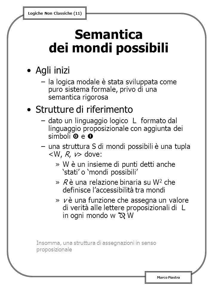 Logiche Non Classiche (11) Marco Piastra Semantica dei mondi possibili Agli inizi –la logica modale è stata sviluppata come puro sistema formale, priv