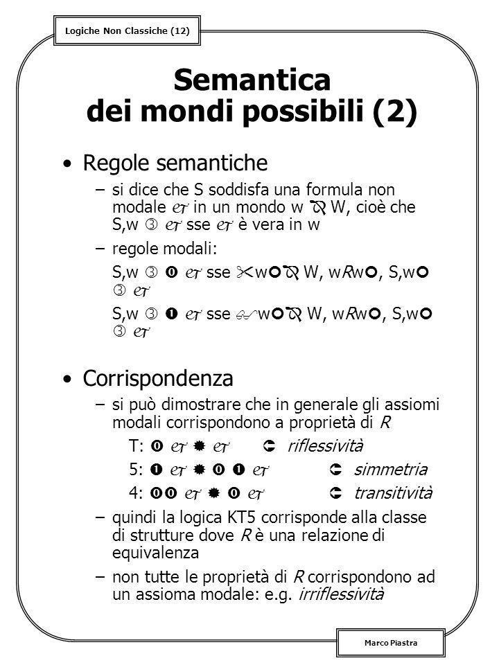 Logiche Non Classiche (12) Marco Piastra Semantica dei mondi possibili (2) Regole semantiche –si dice che S soddisfa una formula non modale in un mond