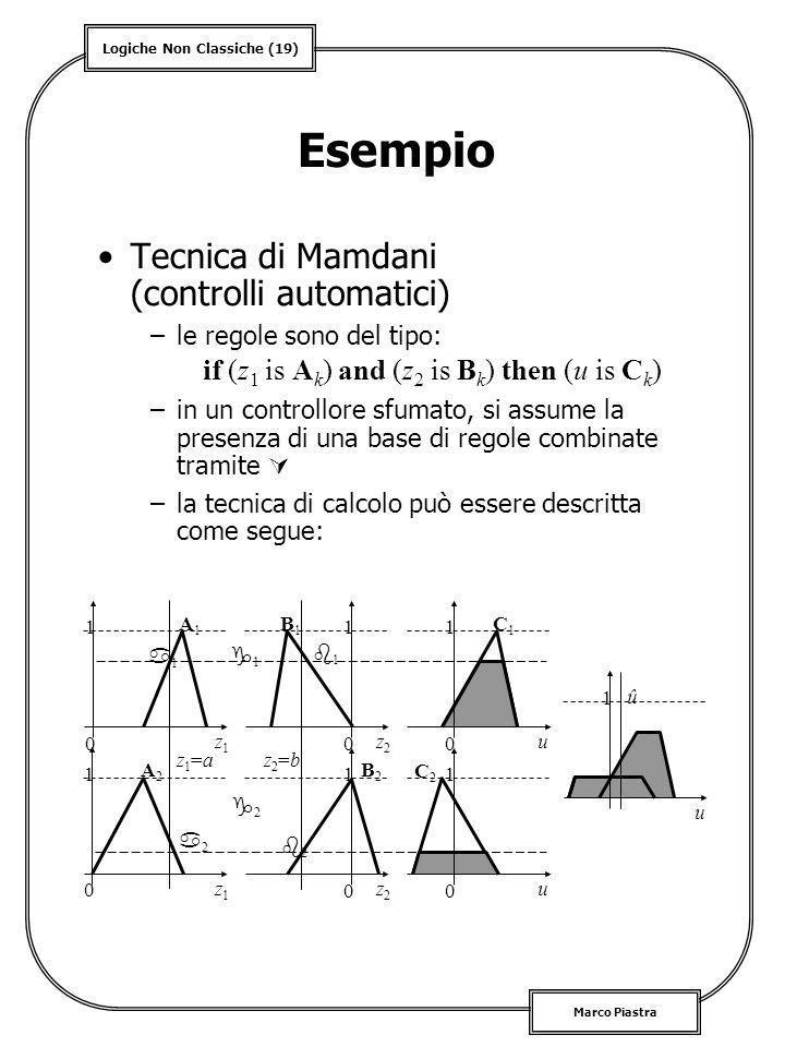 Logiche Non Classiche (19) Marco Piastra Esempio Tecnica di Mamdani (controlli automatici) –le regole sono del tipo: –in un controllore sfumato, si as