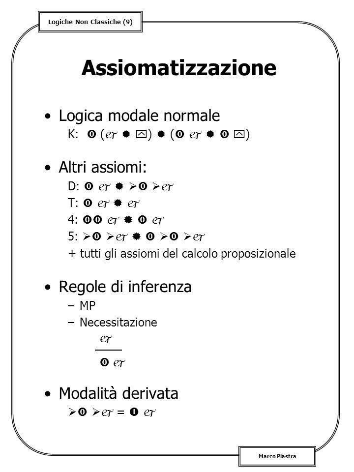 Logiche Non Classiche (9) Marco Piastra Assiomatizzazione Logica modale normale K: ( ) ( ) Altri assiomi: D: T: 4: 5: + tutti gli assiomi del calcolo