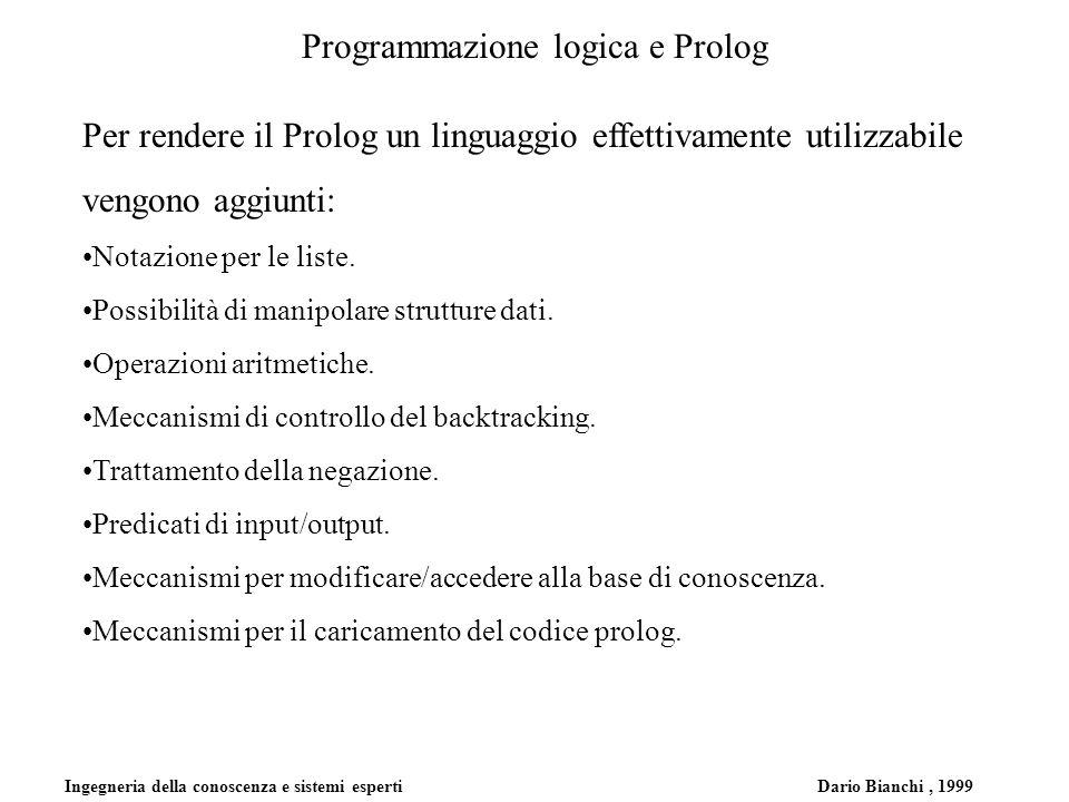 Ingegneria della conoscenza e sistemi esperti Dario Bianchi, 1999 Programmazione logica e Prolog Per rendere il Prolog un linguaggio effettivamente ut