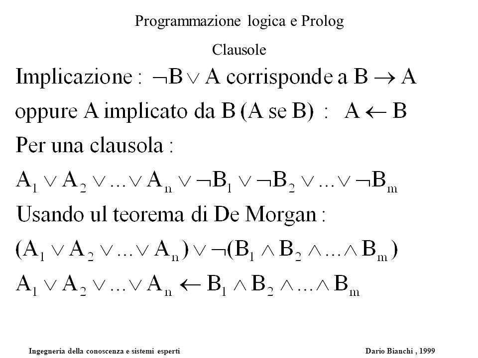 Ingegneria della conoscenza e sistemi esperti Dario Bianchi, 1999 Programmazione logica e Prolog Clausole