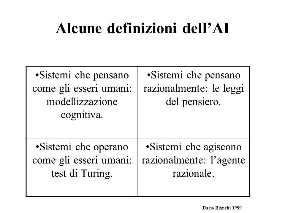 Che cosa e lIntelligenza Artificiale Pensare come gli esseri umani Il nuovo sforzo entusiasmante di far pensare i computer … macchine con la mente in senso completo e letterale(Haugeland, 1985) Lautomazione di attivita che che associamo al pensare umano, come prendere decisioni, risolvere problemi, apprendere…(Bellman, 1978) Pensare razionalmente Lo studio di facolta` mentali mediante modelli computazionali (Charniak e Mc Dermott, 1985) Lo studio delle computazioni che rendono possibile percepire, ragionare e agire Operare come gli esseri umani Larte di creare macchine che eseguono funzioni che richiedono intelliogenza se vengono eseguite da persone (Kurzweil, 1991) Lo studio di come far fare al computer delle cose che, attualmente, le persone fanno meglio (Rich e Knight 1991) Agire razionalmente Un campo di studio che cerca di spiegare ed emulare un comportamento intelligente in termini di processi computaszionali (Schalkoff, 1990) Il ramo dellinformatica che si occupa di automatizzare un comportamento intelligente (Luger e Stubblefield, 1993)