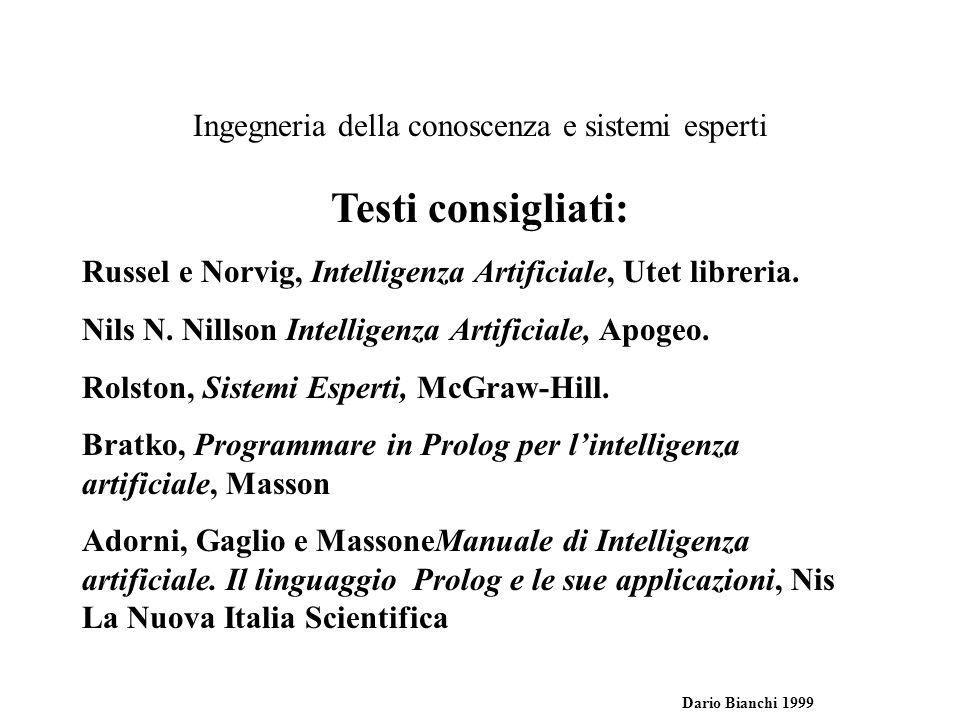 Ingegneria della conoscenza e sistemi esperti Dario Bianchi 1999 Testi consigliati: Russel e Norvig, Intelligenza Artificiale, Utet libreria.