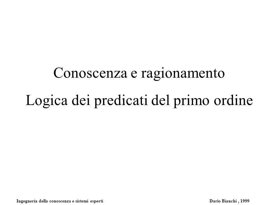 Ingegneria della conoscenza e sistemi esperti Dario Bianchi, 1999 Conoscenza e ragionamento Logica dei predicati del primo ordine