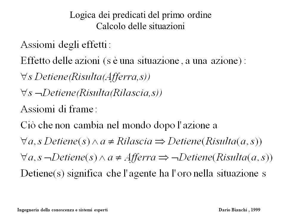 Ingegneria della conoscenza e sistemi esperti Dario Bianchi, 1999 Logica dei predicati del primo ordine Calcolo delle situazioni