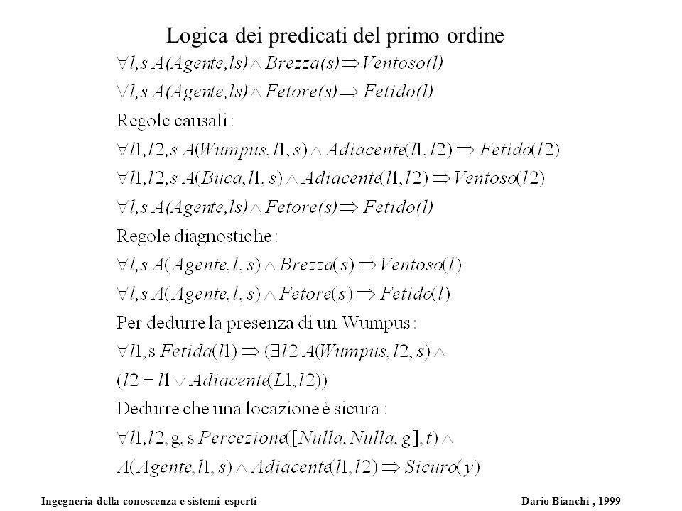 Ingegneria della conoscenza e sistemi esperti Dario Bianchi, 1999 Logica dei predicati del primo ordine