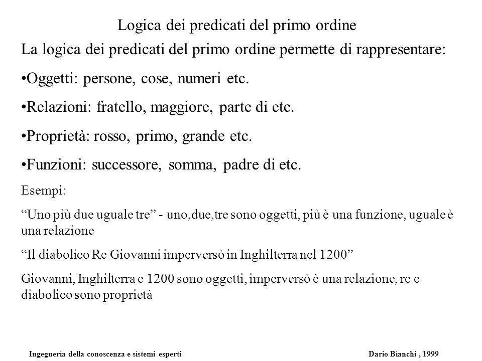 Ingegneria della conoscenza e sistemi esperti Dario Bianchi, 1999 Logica dei predicati del primo ordine La logica dei predicati del primo ordine permette di rappresentare: Oggetti: persone, cose, numeri etc.