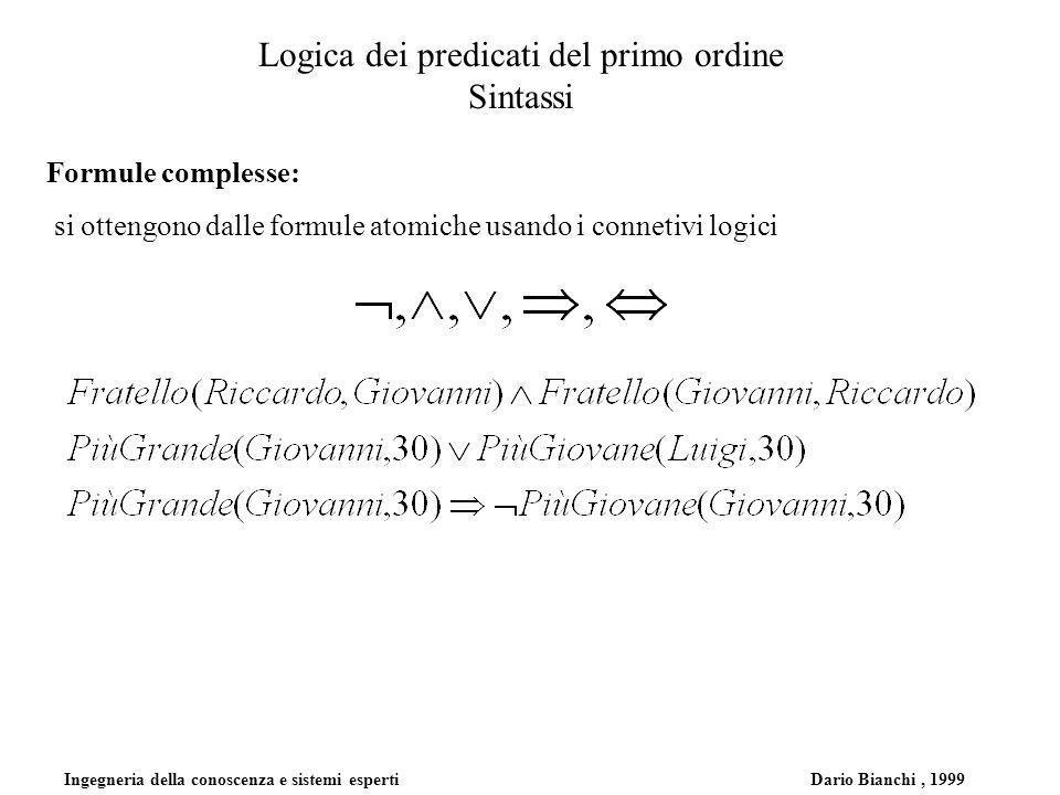 Ingegneria della conoscenza e sistemi esperti Dario Bianchi, 1999 Logica dei predicati del primo ordine Sintassi Formule complesse: si ottengono dalle formule atomiche usando i connetivi logici