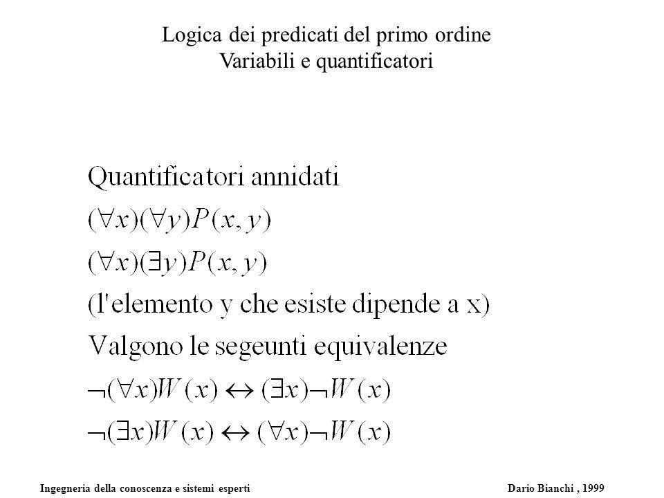 Ingegneria della conoscenza e sistemi esperti Dario Bianchi, 1999 Logica dei predicati del primo ordine Variabili e quantificatori