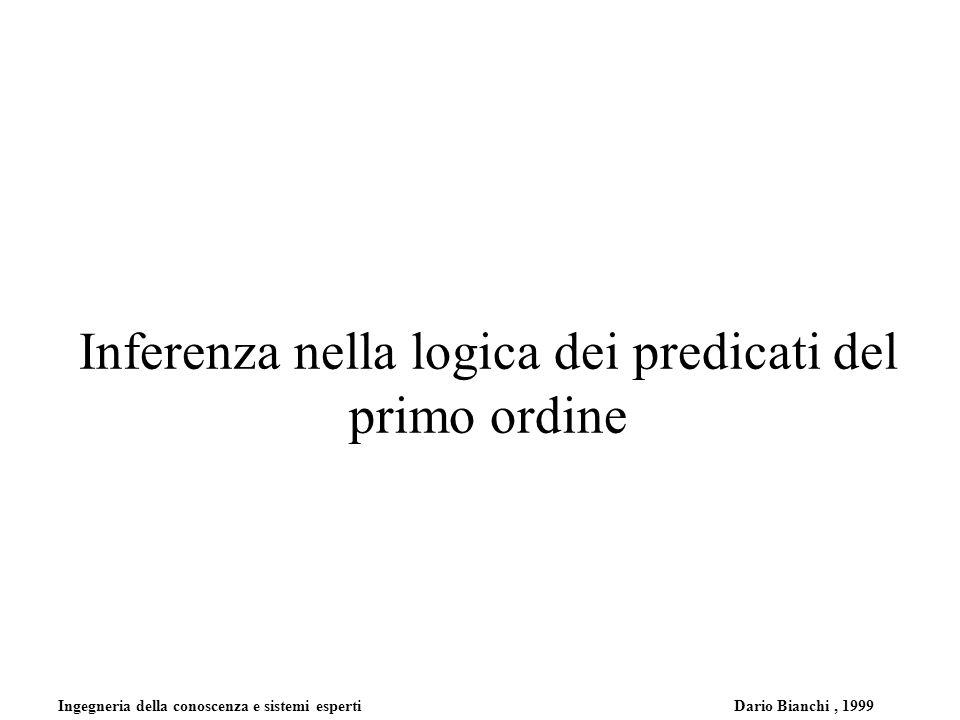 Ingegneria della conoscenza e sistemi esperti Dario Bianchi, 1999 Inferenza nella logica dei predicati del primo ordine