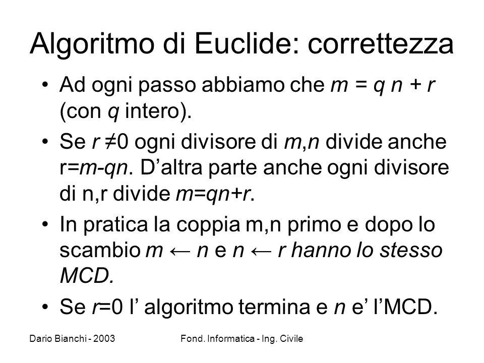 Dario Bianchi - 2003Fond. Informatica - Ing. Civile Algoritmo di Euclide: correttezza Ad ogni passo abbiamo che m = q n + r (con q intero). Se r 0 ogn