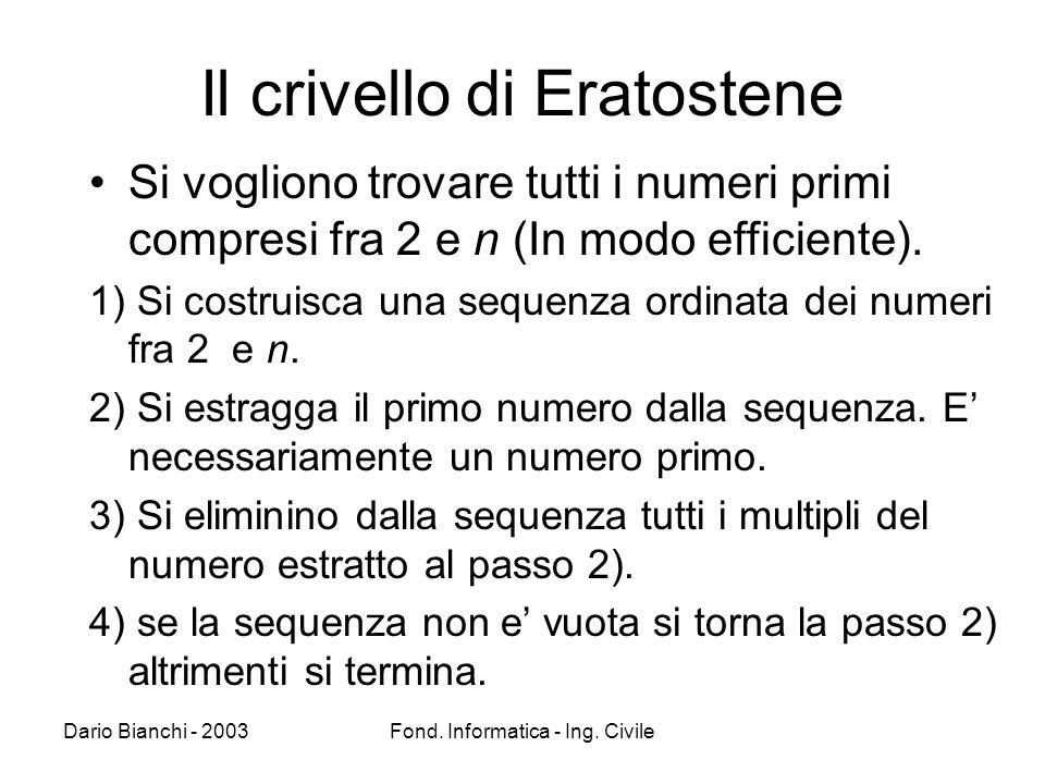 Dario Bianchi - 2003Fond. Informatica - Ing. Civile Il crivello di Eratostene Si vogliono trovare tutti i numeri primi compresi fra 2 e n (In modo eff