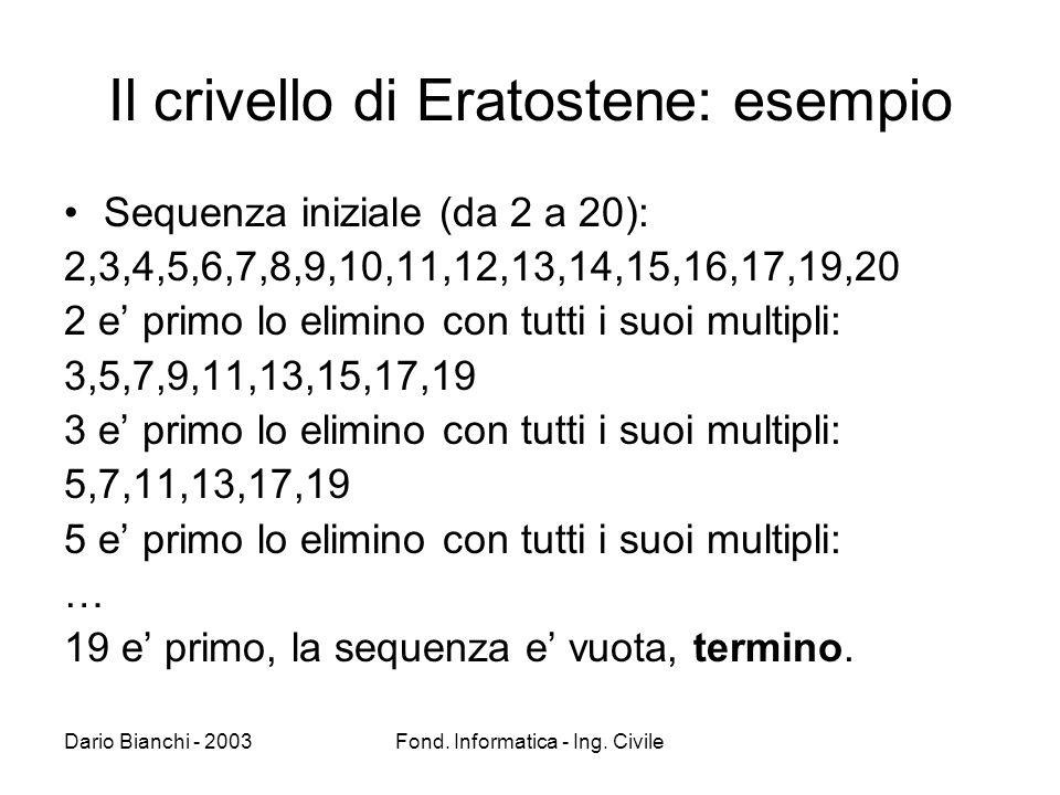 Dario Bianchi - 2003Fond. Informatica - Ing. Civile Il crivello di Eratostene: esempio Sequenza iniziale (da 2 a 20): 2,3,4,5,6,7,8,9,10,11,12,13,14,1
