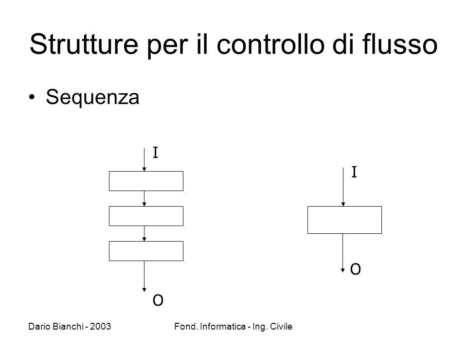 Dario Bianchi - 2003Fond. Informatica - Ing. Civile Strutture per il controllo di flusso Sequenza I O I O