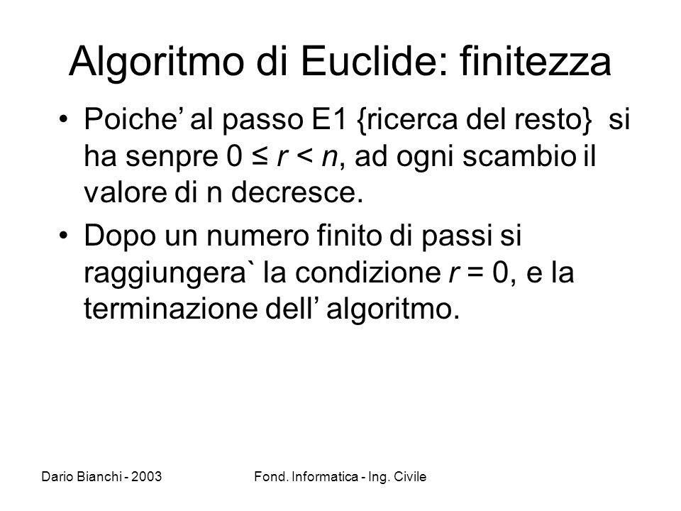 Dario Bianchi - 2003Fond. Informatica - Ing. Civile Algoritmo di Euclide: finitezza Poiche al passo E1 {ricerca del resto} si ha senpre 0 r < n, ad og
