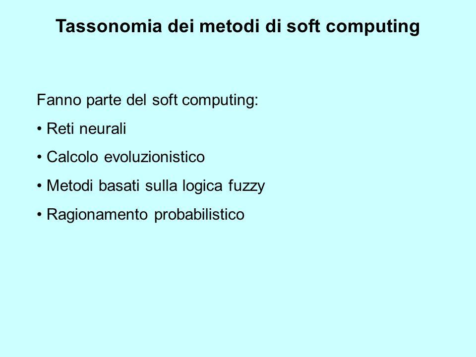 Fanno parte del soft computing: Reti neurali Calcolo evoluzionistico Metodi basati sulla logica fuzzy Ragionamento probabilistico Tassonomia dei metod
